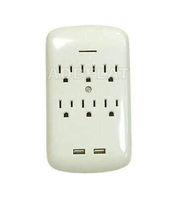 6 Outlet Surge Protector Grounding Wall Tap With 2 Usb Ports - 300 Joules Ad2302