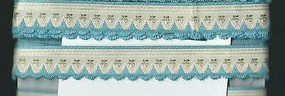 Vintage Turquoise and Cream Scalloped Ribbon