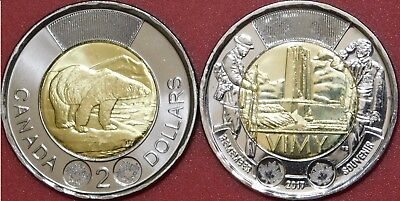 Brilliant Uncirculated 2017 Canada Plain & Vimy Ridge 2 Dollars From Mint's Roll