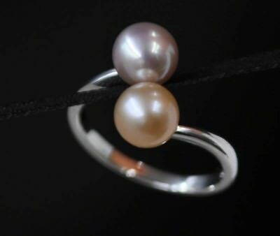 Gorgeous two-style 6mm round natural pearl ring Q2008