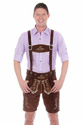 Bavarian traditional leather trousers Lederhosen with suspenders darkbrown 50...