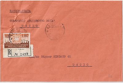 Italy 1958 80L Repubblica Isolated On Registered Cover To Uscio.