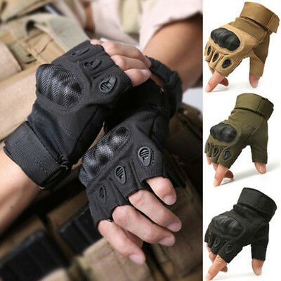 AU Tactical Fingerless Gloves Military Outdoor Airsoft Hard Knuckle Half Finger
