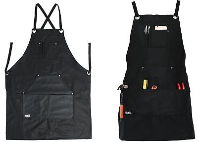 Tool Apron Black Waxed Canvas with Tool Pockets Lightweight Adjustable up to XL