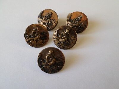 5 antique circa Victorian metal buttons - woman with golf club