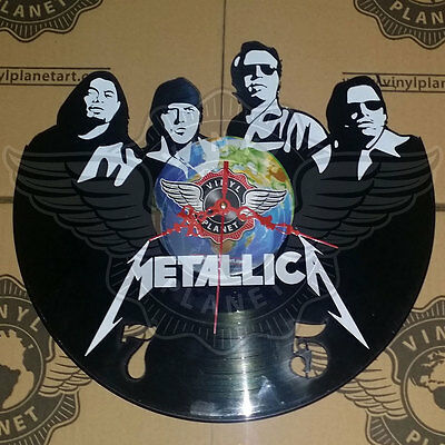 VINYL PLANET Wall Clock METALLICA Home Record Unique Decor upcycled 12''
