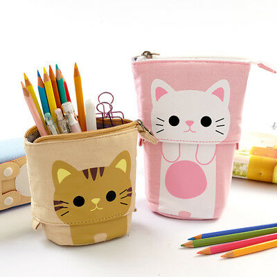 Cute Cat Canvas Pencil Case Pouch Stationery Pen Box Makeup Cosmetic Bag