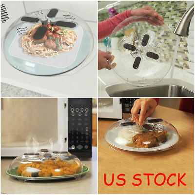 Food Splatter Guard Microwave Hover Anti-Sputtering Cover with Steam Vents US