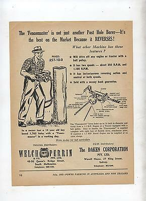Fencemaster Post Hole Borer Advertisement from 1952 Farming Magazine Farm