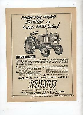 Renault Tractor Advertisement removed from 1952 Farming Magazine