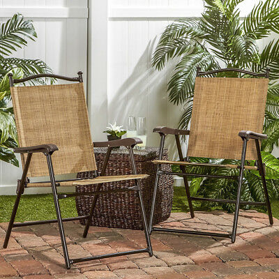 Outdoor Folding Lawn Chairs + UV-Resistant for Garden Balcony Camping RV 2pc