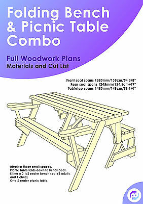 Folding Bench and Picnic Table Combo Plans/Instructions