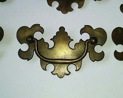 Rustic (29 lot) Vintage COLONIAL  Brass drawer or dresser pull / handle.