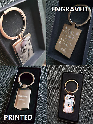 Personalised Photo Printed OR Engraved Photo Keyring / Keychain