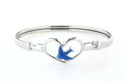 Girls 925 Sterling Silver 50Mm  Clip Open Heart Bangle With Bluebird