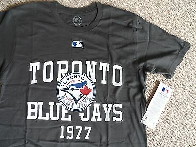 M or L BLUE JAYS Toronto Dark Grey OFFICIAL MLB Baseball T Shirt Canada Cotton