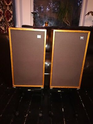 Wharfedale Linton 3XP vintage speakers with hi-fi stands, excellent condition.