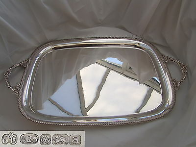 Rare Qe Ii Hm Sterling Silver 2 Handled Tray 2000