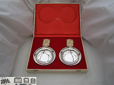 Rare Cased Pair Qe Ii Hm Sterling Silver & Gilt Bowls