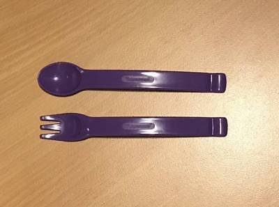 Tupperware Baby Toddler Kids Cutlery Set Fork Spoon Utensils Purple