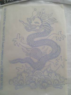 1934 Needlewoman 'Chinese Dragon' embroidery transfer, with full instructions