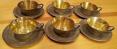 USSR Silver 875 gold plated coffee service: 6 pcs of cups & saucers (1.2 kg)