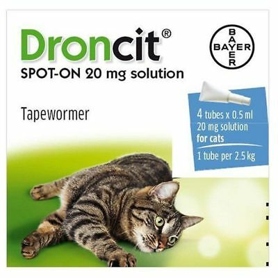 4 Pack Droncit Spot On Cat Wormer 4 Tubes Tapeworm Worming Treatment for Cats.