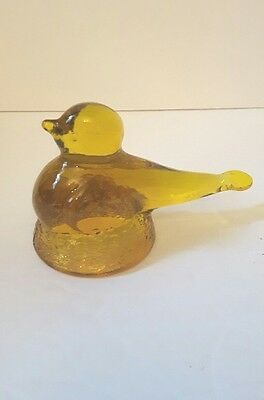 vintage Kanawha yellow amber paperweight bird on a nest