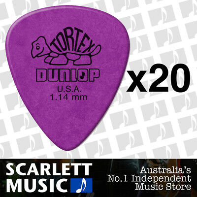 20 x Jim Dunlop Standard Tortex 1.14mm Purple Picks Plectrums 1.14 *20 PICKS*