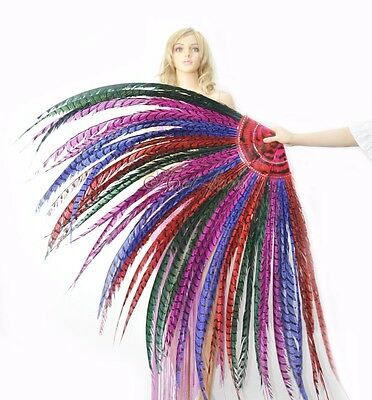 Mix color Tall huge Pheasant Feather Fan professional Burlesque perform