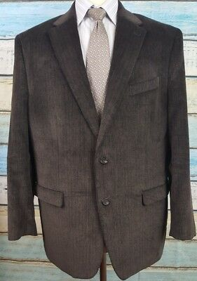 Chaps Size 46R 100% Cotton 2 Button Herringbone Blazer