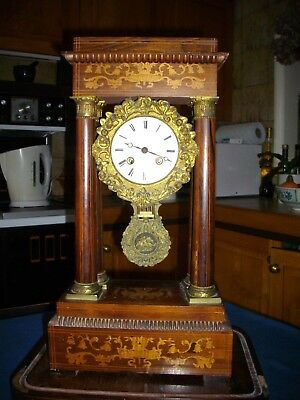 Antique French 8 day striking portico clock