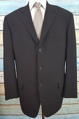 Samuelsohn  Size 46L Polyester/Viscose Blend 3 Button Black Blazer