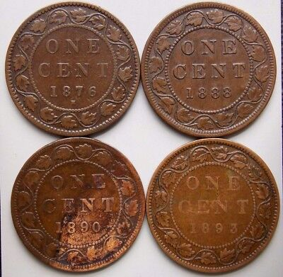 1876 1888 1890 1893 Canada Canadian Large 1 Cent Coins Queen Victoria Lot Of 4