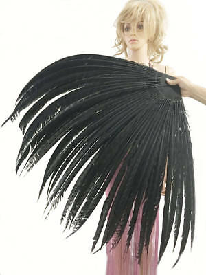 Black tall huge Pheasant Feather Fan professional Burlesque perform