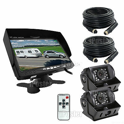 """Dual IR Reversing CCD Camera+Dual 20m 4Pin Cable+7"""" Monitor For Truck Trailer RV"""
