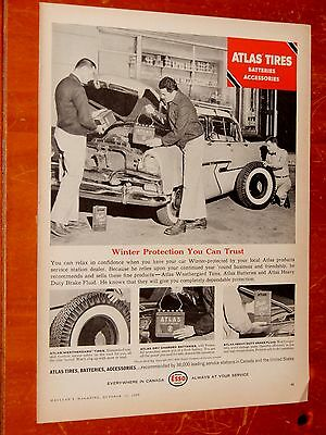 1956 Plymouth Belvedere 4 Door Ht / 1957 Atlas Tires Batteries Canadian Esso Ad