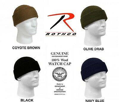 b47296f7d7a Winter Knit Watch Cap 100% Wool GI Genuine Military Made in USA Rothco New