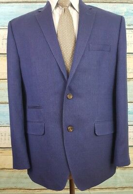 Alen Flusser Size 42R Blue Wool Silk Blend 3 Button Blazer