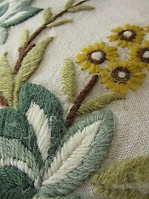 Crewel Embroidery Double Sided Vintage Floral Arrangement Cushion Pillow Cover