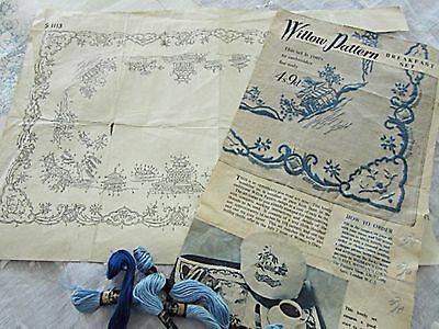 1950s 'BLUE WILLOW' LINEN SET - EMBROIDER & COMPLETE - TRAY CLOTH TEA & EGG COSY