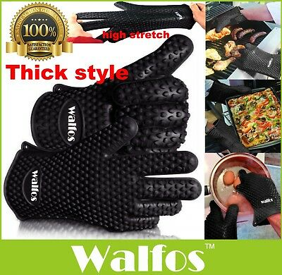 WALFOS 1pcs Food Grade Heat Resistant Silicone Kitchen Barbecue Oven Glove