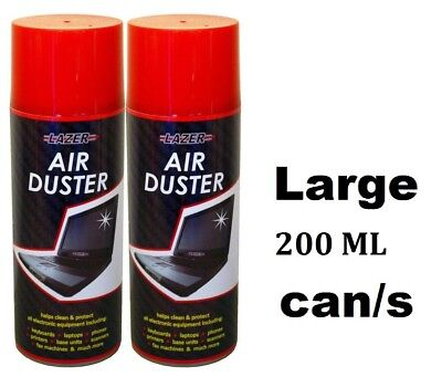 2x Compressed Air Duster Spray Can Cleans Protects Laptops Keyboards Large 200ml