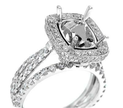 Ring Setting Diamond Semi Mount 18k White Gold Emerald 2.28ct