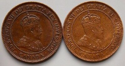 1904 1906 Canada Canadian Large 1 Cent Coins King Edward VII Lot Of 2 - Nice