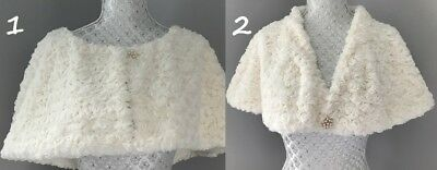 Luxury Ivory Faux Fur Shrug Bolero Jacket Stole Cape Women Bridal Wedding GLAM