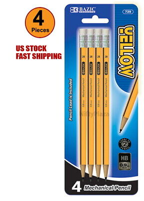 Yellow 0.9mm 2B Mechanical Pencil Excellent Quality 4 Per Pack - US SHIPPING