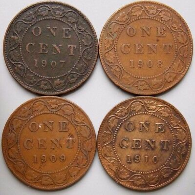 1907 1908 1909 1910 Canada Canadian Large 1 Cent Coins King Edward VII Lot Of 4
