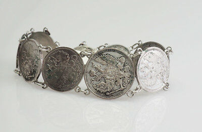 Antique Imperial Russia silver coin money bracelet 1910s