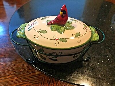 Temptations by Tara Presentation Ovenware 9 oz. Cardinal Casserole Dish w/Holder
